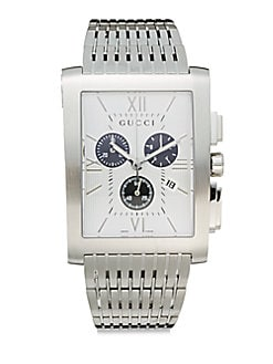 Stainless Steel Rectangular Chronograph Dial Watch/White