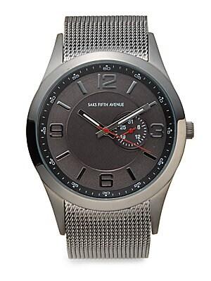 Gunmetal-tone Stainless Steel Mesh Bracelet Watch