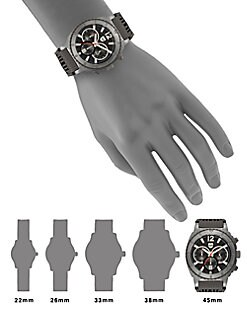 Grey IP & Rubber Strap Chronograph Watch