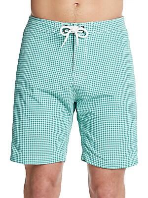 Gingham Nylon Board Shorts