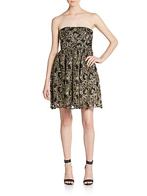 Caryn Lace Strapless Fit-And-Flare Dress