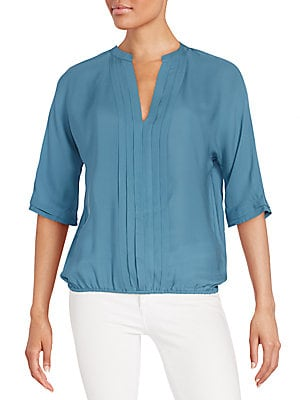 Pleat-Front Silk Top
