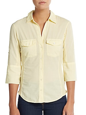 Rolled-Sleeve Button-Front Shirt