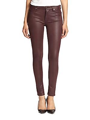 Crackle Leather-Like Skinny Jeans