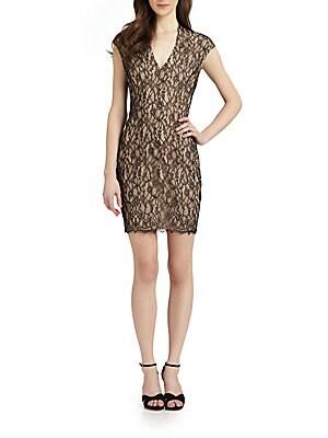 Stretch Lace Dress   Black Nude