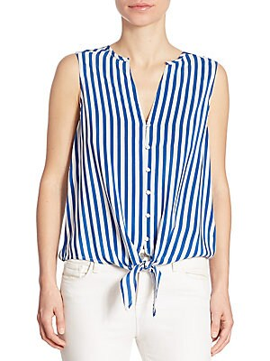 Tyson Striped Front-Tie Blouse