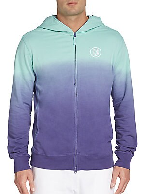 Ombre Zip-Front Hooded Sweatshirt
