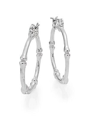 Bamboo Hoop Earrings/Silvertone