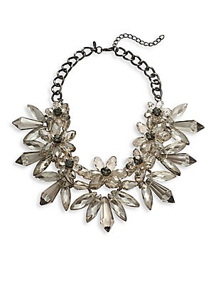 Faceted Floral Beads Necklace- 16in