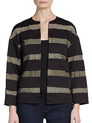 Boxy Lace Stripe Jacket