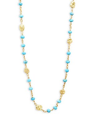 20K/24K Yellow Gold Turquoise Beaded Necklace