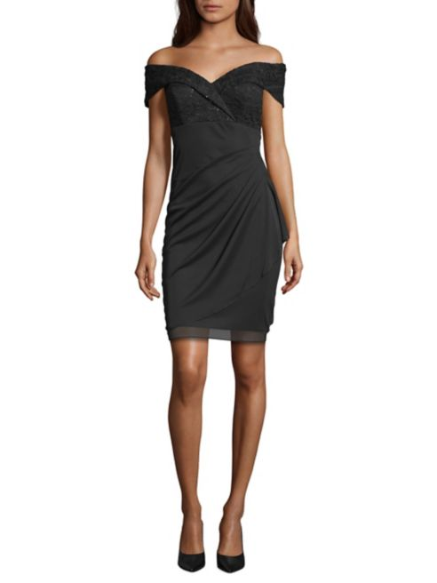 Shoulder Sheath Xscape Off Dress Embellished The Yfg76yvb