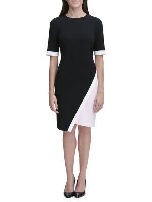 Asymmetrical Scuba Crepe Sheath Dress by Tommy Hilfiger
