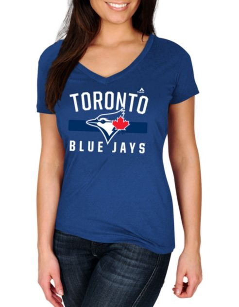 At Toronto V Neck Jays Game Tee A Majestic Ladies Blue Time One QrdxhCts