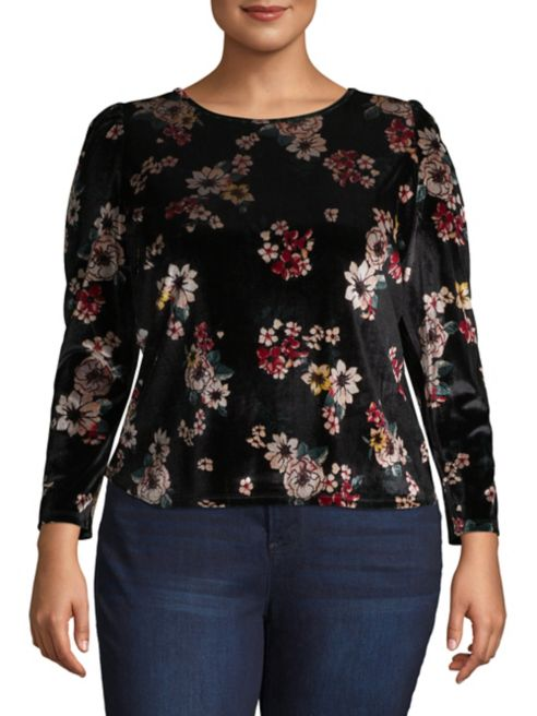 Vince Velvet Floral Sleeve Camuto Long Top fy6gvb7Y