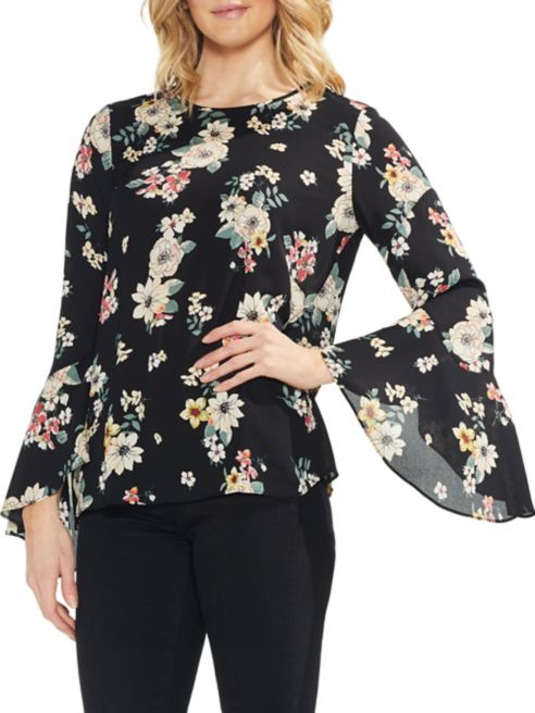 Story Camuto Sleeve Vince Estate Floral Blouse Jewel Flared WD2YEH9I