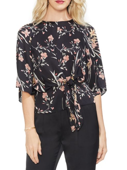 Vince Tie Sleeve Rose Gilded Blouse Front Bell Floral Camuto vbf6yIY7g