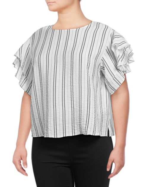 Ruffle Vince Blouse Camuto Tiered Stripe N80vmwOn