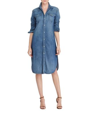 Denim Western Cotton Shirtdress by Polo Ralph Lauren