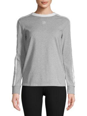 Three Stripe Heathered Sweater by Adidas Originals