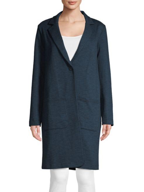 Manteau en H Halston col cranté coton à PkXuTiOZ