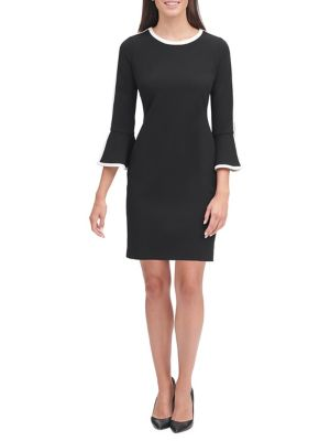 Scuba Crepe Border Bell Sleeve Dress by Tommy Hilfiger