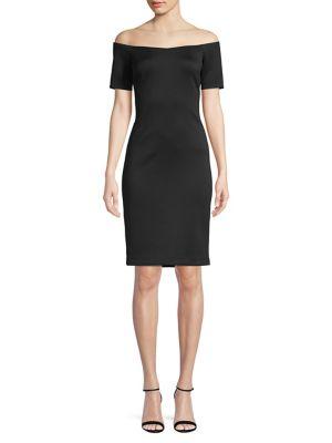 Off The Shoulder Sweetheart Sheath Dress by Calvin Klein
