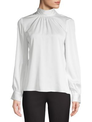 Gathered Mockneck Top by Calvin Klein