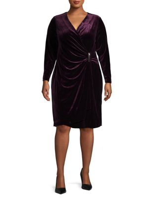 Plus Velvet Wrap Dress by Calvin Klein
