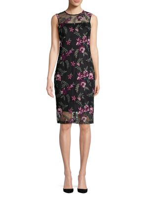 Embroidered Lace Illusion Sheath Dress by Calvin Klein