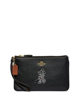 Small Disney X Coach, Disney Boxed Leather Minnie Mouse Wristlet by Coach