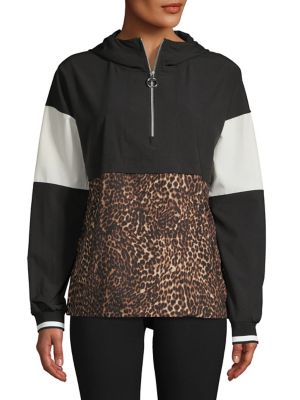 Colourblock Leopard Print Hoodie by Calvin Klein Performance
