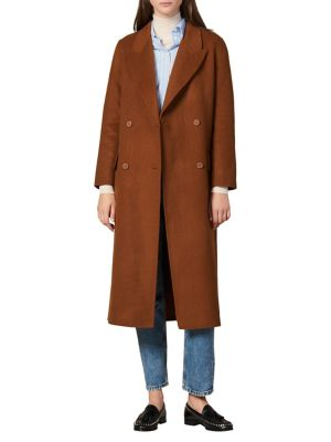 Hazeen Fringe Wool Blend Coat by Sandro