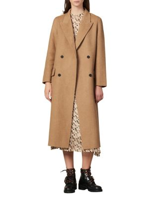 Jims Double Breasted Wool Long Coat by Sandro