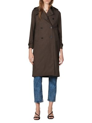 Tattersall Plaid Double Breasted Trench Coat by Sandro
