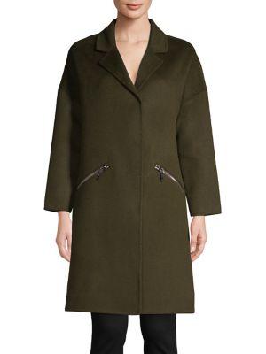 Wool Blend Zip Pocket Coat by Maje