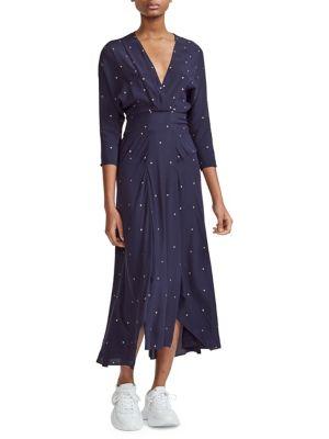 Rolene Embellished A Line Midi Dress by Maje