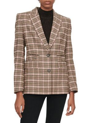 Fitted Plaid Jacket by Maje