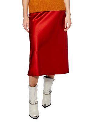 Satin Bias Midi Skirt by Topshop
