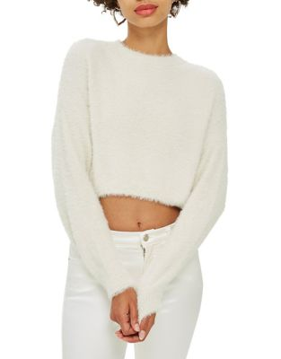 Fluffy Super Cropped Jumper by Topshop