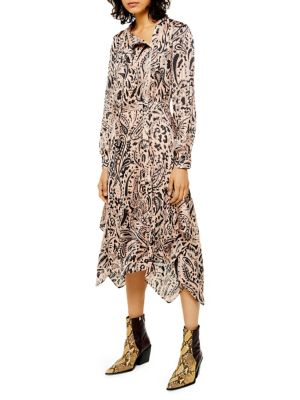 Pussy Bow Paisley Midi Dress by Topshop