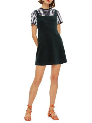 Cord Open Back Pinafore Dress by Topshop