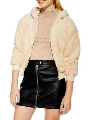 Petite Faux Fur Zip Hoodie by Topshop