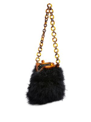 Marabou Feather Clip Frame Bag by Topshop