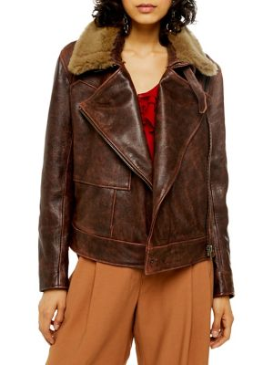 Shearling Leather Jacket by Topshop