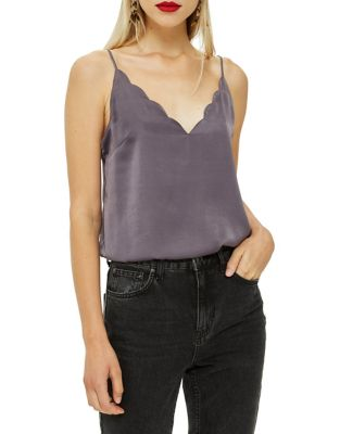 Satin Scallop Cami by Topshop