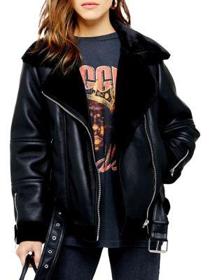 Petite Cora Faux Fur Trim Biker Jacket by Topshop