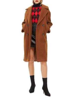 Amy Boucle Cocoon Coat by Topshop