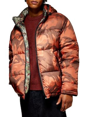 Reversible Camouflage Print Puffer Jacket by Topman