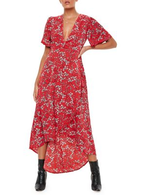 Floral Print Wrap Maxi Dress by Missguided
